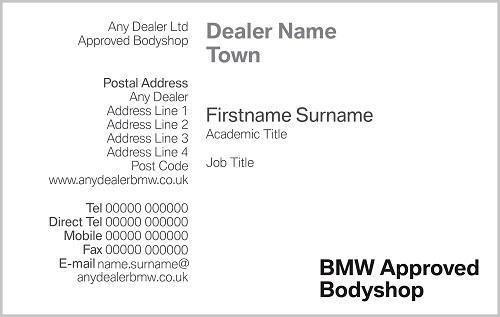Bmw Bodyshop Business Cards Sycamore Peterborough