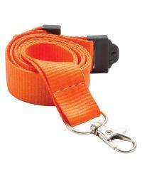 Plain Neck Lanyards 20mm Wide & Metal Trigger Clip - Orange - Pack of 100