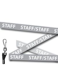 Staff Lanyards Welsh/English Bilingual Grey - Metal Clip - Pack of 10