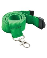 Plain Neck Lanyards 20mm Wide & Metal Trigger Clip - Green - Pack of 100