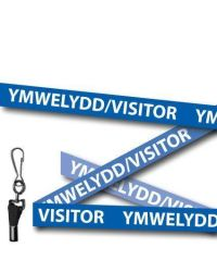 Visitor Lanyards Welsh/English Blue - Metal Clip - Pack of 10