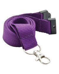 Plain Neck Lanyards 20mm Wide & Metal Trigger Clip - Purple - Pack of 100