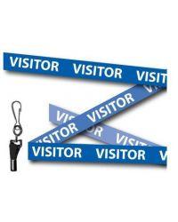 Visitor Printed lanyards Blue 15mm Wide - Metal Clip - Pack of 10