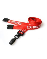 Exhibitor Lanyards 15mm Wide - plastic clip - Pack of 100