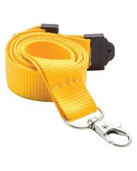 Plain Neck Lanyards 20mm Wide & Metal Trigger Clip - Yellow - Pack of 100