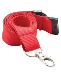 Plain Neck Lanyards 20mm Wide & Metal Trigger Clip - Red - Pack of 100