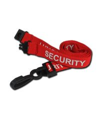 Security Red Printed Lanyards 15mm Wide Plastic Clip - Pack of 100