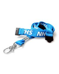 NHS Blue Printed Lanyards 2 x Safety Breaks & Metal Clip - Pack of 100
