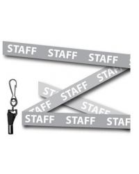 Staff Printed Lanyards Grey 15mm Wide - Metal Clip - Pack of 10