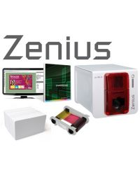 Evolis Zenius Red Plastic ID Card Badge Making Machine Package
