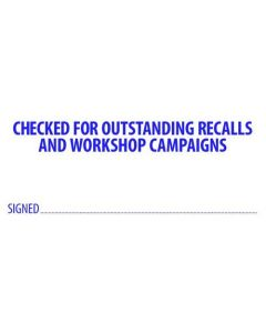 Checked For Recalls (67mmx27mm)